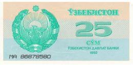 Uzbekistan. Banknote. 25 Bags. UNC. 1992 - Ouzbékistan