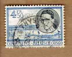 CONGO BELGE.(COB-OBP) 1955 - N°331 * VOYAGE ROYAL AU CONGO* 4,50F - Oblitéré THYSVILLE - 1947-60: Oblitérés