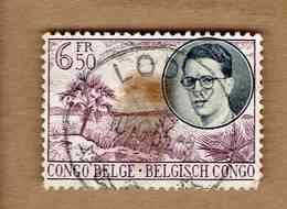 CONGO BELGE.(COB-OBP) 1955 - N°332   * VOYAGE ROYAL AU CONGO*    6,50F - Oblitéré LODUA - Congo Belge