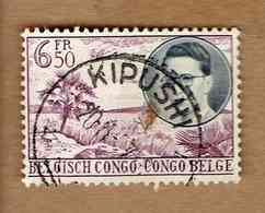 CONGO BELGE.(COB-OBP) 1955 - N°332   * VOYAGE ROYAL AU CONGO*    6,50F - Oblitéré KIPUSHI - Congo Belge