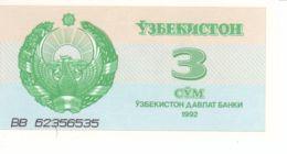 Uzbekistan. Banknote. 3 Sum. UNC. 1992 - Ouzbékistan