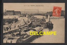 DD / BATEAUX / PÉNICHES  / UNE PÉNICHE À ROUES À AUBES QUAI SAINT SEVER À ROUEN / ANIMÉE / CIRCULÉE EN 1913 - Embarcaciones