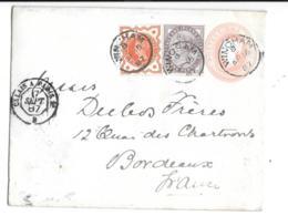 LETTRE  ENTIER POSTAL ..DE WINCHAN.CHESHIRE..1887.  N°73-91- En Complement.AMBULANT DE JOUR. PARIS CALAIS 2°TBE. - Entiers Postaux