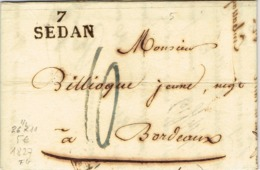 Ar31-  7 / SEDAN   Ardennes  1827 Taxe Bleue - Storia Postale
