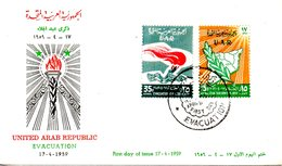 SYRIE. PA 154-5 De 1959 Sur Enveloppe 1er Jour. Fête De L'évacuation. - Syria