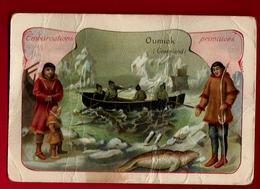 Chromo Embarcations Primitives Oumiak Umiak Groënland - Bateau Canot Pêche Glacier Phoque ? ... 2° Choix - Andere