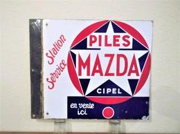 Plaque émaillée MAZDA STATION SERVICE Vintage - Advertising (Porcelain) Signs