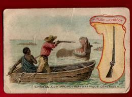 Chromo Les Armes à Travers Les âges Le Fusil De Chasse Hippopotame Afrique Centrale Ed La Belle Jardinière Bériot Lille - Chromo