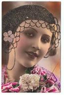 STE CATHERINE Portrait De Femme Avec Paillettes CPA - Sainte-Catherine