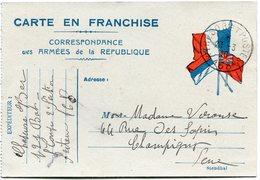 FRANCE CARTE DE FRANCHISE MILITAIRE DEPART TRESOR ET POSTES 23-3-16 * 168 * POUR LA FRANCE - Marcophilie (Lettres)