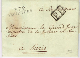"""Ar33-  P7.P. / VOUZIERS""""   1809  Vouziers  Ardennes 1830 Indice 13 - Postmark Collection (Covers)"""