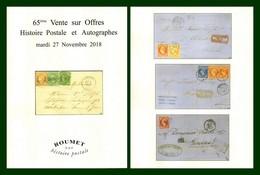 Catalogue 65éme Vente Sur Offres Roumet 27 Nov. 2018 Histoire Postale Et Autographes - Catalogues For Auction Houses