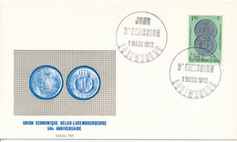 DC-1391 - FDC 1972 LUXEMBOURG - COINS ON STAMP - Münzen