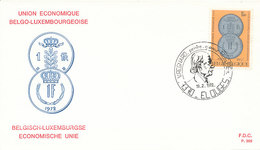 DC-1393 - FDC 1972 LUXEMBOURG - COINS ON STAMP - Münzen