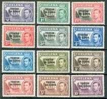 TRISTAN DA CUNHA 1952 St. Helena Stamps Optd (12v), MNH, With Light Tropiclization MiNr 1-12, SG 1-12; C.v. €17.25 - Tristan Da Cunha