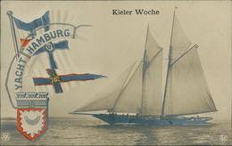 AK Kiel, Kieler Woche, Yacht Hamburg, Um 1907 (2553) - Voiliers
