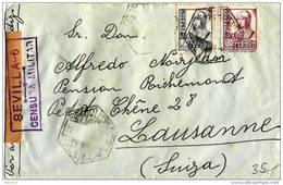 España-Spain-Espagne-Spanien 1941: Lettre Censuré De SEVILLA 22 FEB 1941 Pour Lausanne (Suisse) CENSURA MILITAR - 1931-Aujourd'hui: II. République - ....Juan Carlos I