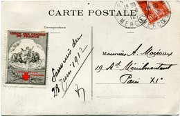 """FRANCE CARTE POSTALE AVEC VIGNETTE """"UNION DES FEMMES DE FRANCE CROIX-ROUGE FRANCAISE"""" DEPART PARIS 28-6-12 POUR LA ..... - Commemorative Labels"""