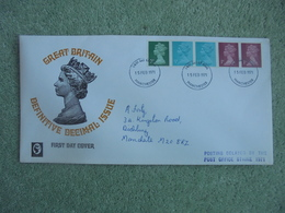 S027: FDC: GREAT BRITAIN DEFINITIVE DECIMAL ISSUE. 2 X 0.5p, 2 X 1p, 1 X 2p. 15  FEB 1971. POSTING DELAYED BY PO STRIKE - FDC