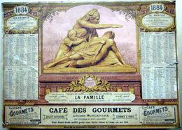 CALENDRIER PUBLICITAIRE 1884  CAFE DES GOURMETS ALLEGORIE D'APRES BARTHOLDI - Calendriers