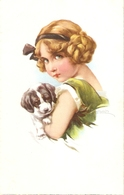 """Pretty Girl With Her Dog"" Nice Antique German Postcard - Enfants"