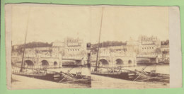 AMBOISE Vers 1860 - 1870 : Le Pont ( Une Partie Métallique ), Le Château, Les Quais. Photo Stéréoscopique. 2 Scans - Photos Stéréoscopiques