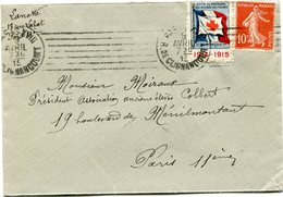 """FRANCE LETTRE AVEC VIGNETTE """"Ste Fse DE SECOURS AUX BLESSES MILITAIRES PENSEZ A NOS SOLDATS 1914-1915"""" - Commemorative Labels"""