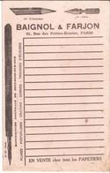 MB 1 R Buvard Publicitaire BAIGNOL Et FARJON Paris Manufacture Boulogne Sur Mer - Papeterie