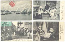 4 Cpa Egypte - Cairo, Voiliers Sur Le Nil, Bridal Procession, Restaurant Ambulant    ( S. 3350 ) - Egypte