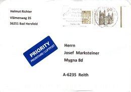 Auslands - Brief Von Briefzentrum 36 Mit 90 Cent Dom Worms Mit Werbe -Stpl Fulda 2018 - BRD