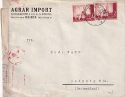 CROATIE 1941  LETTRE CENSUREE/ZENSIERT/CENSORED DE OSIJEK  POUR LEIPZIG - Croatie