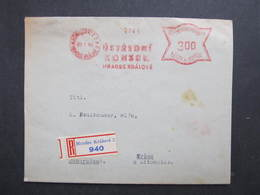 R-Brief Hradec Kralove Ustredni Komise 1940 Frankotype Postfreistempel // L0533 - Briefe U. Dokumente