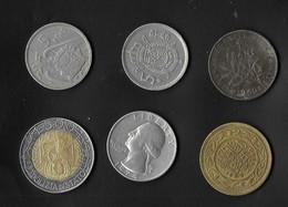 6 Pieces De Monnaies D'origines Différentes . Semeuse 1960,Dollards ,Pésétas , Maroc , Italie ... - Coins