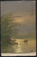 CP Peinte à La Main Paysage Bord D'étang + Canot. Obl. 1907 - Illustrateurs & Photographes