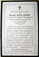 MEMORANDUM  SOUVENIR MADAME CHARLES GOBERT NEE TEISSEIRE  SUISSE  FAIRE PART DECES - Obituary Notices