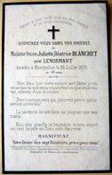 MEMORANDUM  SOUVENIR MADAME JULIETTE BEATRICE BLANCHET 34 MONTPELLIER   FAIRE PART DECES - Décès