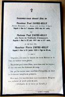 MEMORANDUM  SOUVENIR  FAMILLE FAVRE GILLY  FAIRE PART DECES - Décès