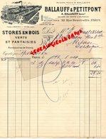 75 - PARIS - BELLE FACTURE BALLAUFF & PETITPONT-22 RUE BEAUTREILLIS- STORES EN BOIS-MANTES SUR SEINE- 1934 - France