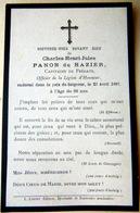 MEMORANDUM  SOUVENIR  CAPITAINE DE FREGATE PANON DE HAZIER  FAIRE PART DECES - Décès