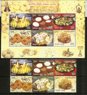 La Cuisine Indienne (Modak,Peda,Sandesh,Chhappan Bhog,etc) Bloc-feuillet + Série Neufs ** - Food