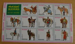 R176. Manama - MNH - Art - Military Uniforms - Horses - Full Sheet - Wholesale - Art
