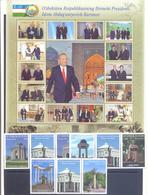 2018. Uzbekistan, President Karimov, 64v + 32 Labels + Sheetlet, Mint/** - Uzbekistan