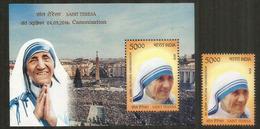 Canonisation De Mère Teresa, Prix Nobel De La Paix.INDE.  Bloc-feuillet + Timbre Neufs ** Côte 23,00 Euro - Nobel Prize Laureates