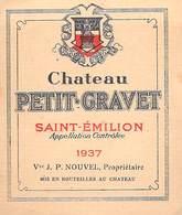 ETIQUETTE De VIN  Château PETIT GRAVET SAINT-EMILION 1937 -Vve J.P..NOUVEL - Bordeaux