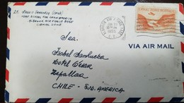O) 1955 CANAL ZONE, GAILLARD CUT SCT C9 10c Orange, ALBROOK AIR FORCE- BASE C.Z. TO CHILE, XF - Canal Zone