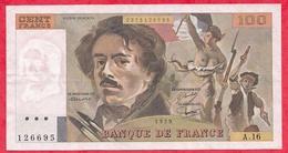 """100 Francs """"Delacroix"""" 1979 ---début D 'alphabet -Série -A.16 ---F/TTB+ - 1962-1997 ''Francs''"""