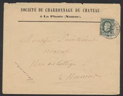 """émission 1869 - N°30 Sur Lettre """"Charbonnage Du Château"""" Obl Simple Cercle """"La Plante (Namur)"""" Vers Namur - 1869-1883 Leopoldo II"""
