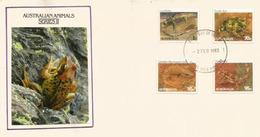 Reptiles D'Australie : Lézard, Varan, Crapaud,Moloch Hérissé.  FDC Australie - Reptiles & Batraciens