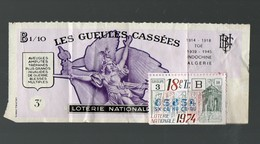 Ticket De Loterie LES GUEULES CASSEES 1974  (PPP15993) - Lottery Tickets