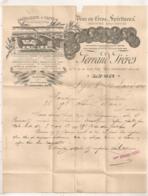 1891 FACTURE DE FERRAND FRERES LYON / ABSINTHE ARQUEBUSE / DISTILLERIE A VAPEUR / PEPERMINT / BITTER AU QUINQUINA   B643 - France